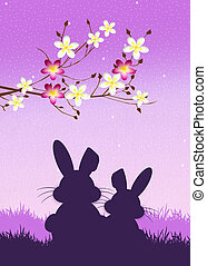 Easter bunnies silhouette