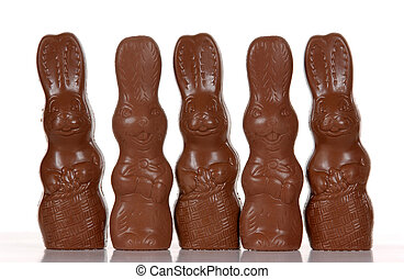 Easter Bunnies - A group of milk chocolate easter bunnies