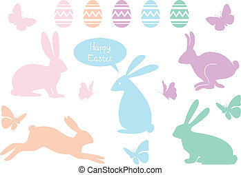 Easter bunnies, vector set