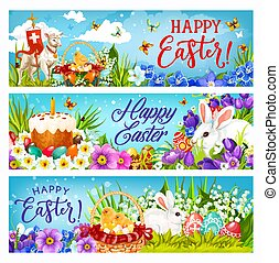 Easter bunnies with eggs, flowers and chicks