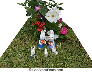 Easter bunnies with flowers 02 - A photo of 5 Easter bunnies...