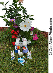 Easter bunnies with flowers 08 - A photo of 5 Easter bunnies...