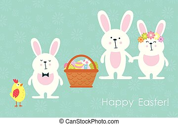 Easter bunnies,chicken and easter eggs. Vector.