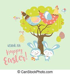 Easter bunnies,chicken and easter eggs. Vector illustration