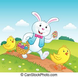 Easter Bunny and Baby Chicks - Cartoon illustration of...