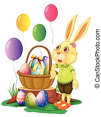 Easter bunny and basket of eggs