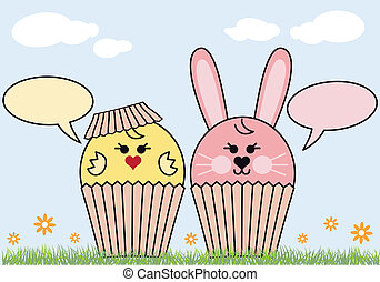 easter bunny and chicken, vector