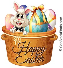 Easter Bunny and decorated eggs