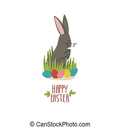 Easter bunny and Easter eggs hunt on the grass. Hand drawn doodle style concept holiday illustration. Cartoon animal