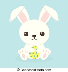 Easter bunny and egg - cute rabbit with yellow easter egg on...