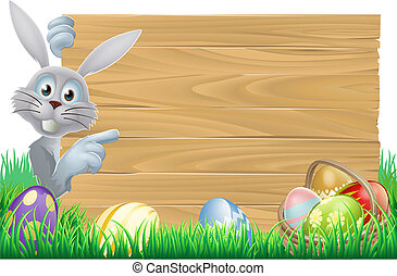Easter bunny and eggs basket sign - White Easter rabbit...