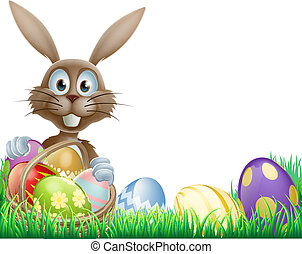 Easter bunny and eggs basket - A cartoon Easter bunny rabbit...