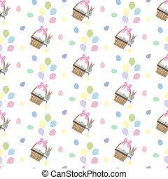 Easter bunny and eggs seamless pattern