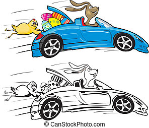mad rabbit in a car riding on easter