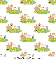 Easter bunny and lamb seamless pattern