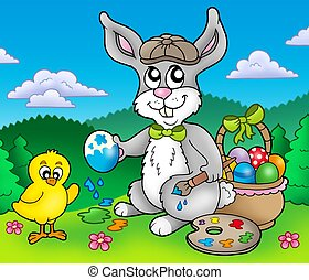 Easter bunny artist and chicken