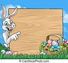Easter Bunny Background Sign