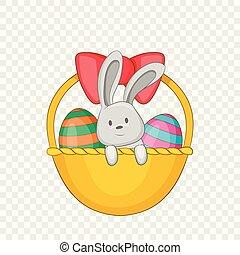 Easter bunny basket icon, cartoon style