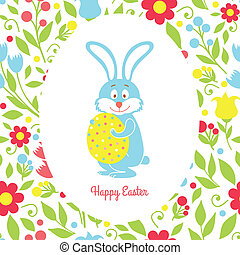 Easter bunny card with eggs and flowers