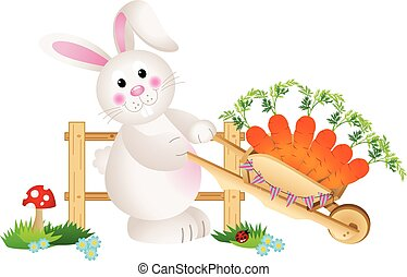 Easter bunny carrying carrots