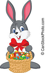 Easter bunny cartoon with bucket of - Vector illustration of...