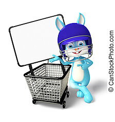 Easter Bunny character with shopping trolley - 3d...