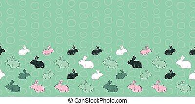Easter Bunny Circle Frame Border Seamless Pattern
