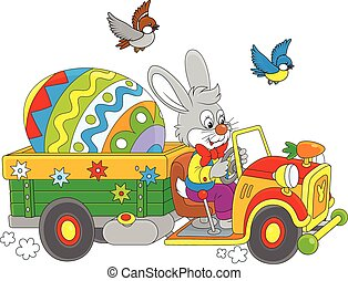 Easter Bunny - A grey rabbit driving a truck with a big...