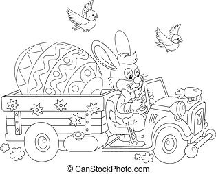 Easter Bunny - A black and white vector illustration of a...