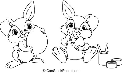 Easter Bunny coloring page - Easter Bunny painting eggs...
