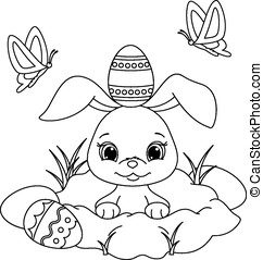 easter bunny coloring page Illustration of happy easter vector