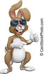 Easter Bunny Cool Rabbit Thumbs Up and Pointing