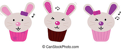 Easter bunny cupcakes set isolated on white