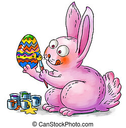 Easter bunny decorates eggs. Hand-drawn