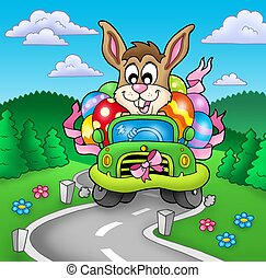 Easter bunny driving car on road