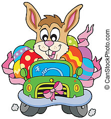 Easter bunny driving car - vector illustration.