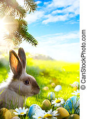 Easter bunny, Easter eggs and spring flower