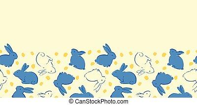 Easter Bunny Egg Frame Border Seamless Pattern
