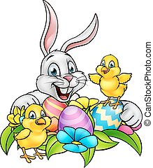 Easter Bunny Eggs and Chicks