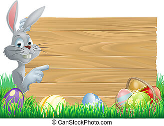 Easter bunny eggs and sign - White Easter rabbit bunny...