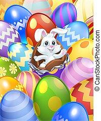 Easter Bunny Eggs Background Cartoon