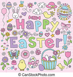 Easter Bunny Eggs Doodle Vector Set - Easter Springtime Hand...
