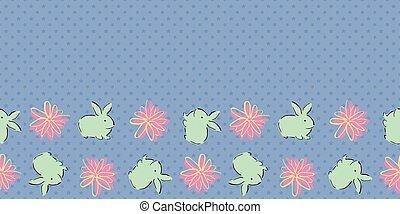Easter Bunny Flower Frame Border Seamless Pattern