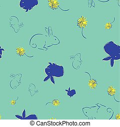 Easter Bunny Flower Seamless Pattern