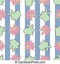 Easter Bunny Flower Vertical Stripes Seamless Pattern