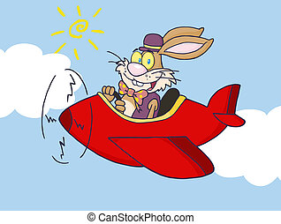 Easter Bunny Flying A Red Plane