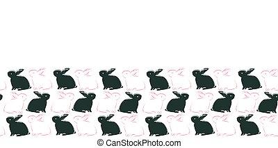 Easter Bunny Frame Border Seamless Pattern