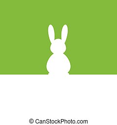 Easter bunny green silhouette illustration