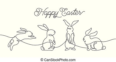 Easter bunny greeting card in simple one line style. Rabbit icon. Black and white minimal concept vector illustration