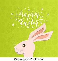Easter Bunny Head with Eggs on Green Background